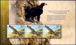 """ISRAEL - 2012 - """"Tel-Aviv 2013"""" Multin´l Stamp Exh. - Birds Of Israel  - Golden Eagle - Booklet Pane Of 3 Stamps - MNH - Eagles & Birds Of Prey"""