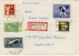 1967 East Germany Registered Cover With Nice Stamps And `TAUSCHSENDUNG` Label On Back Of Cover - DDR