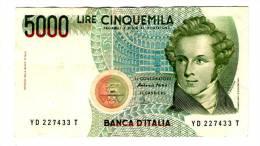 ITALIE . UN BILLET DE 5000  LIRE - [ 2] 1946-… : République