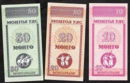 MONGOLIA  P49,50,51   - 10,20,50 MONGO    1993    SET    UNC. - Mongolia