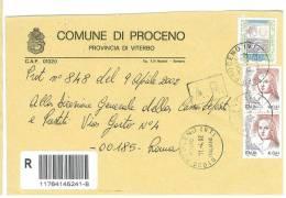 PROCENO  01020  PROV. VITERBO  - ANNO 2002 -  R  -  TEMA TOPIC COMUNI D´ITALIA - STORIA POSTALE - Affrancature Meccaniche Rosse (EMA)