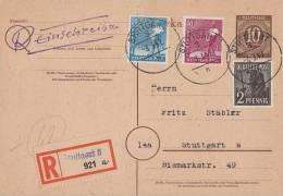 Gemeina. R-Ganzsache Mif Minr.943,950,954 Stuttgart 3.3.47 - Gemeinschaftsausgaben
