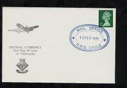 GB 1971 Commemorative Postmark Decimal Currency HMS Eagle (T896) - Marcophilie