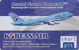 Télécarte Prepayée Japon BRASTEL - KOREAN AIR Japan Prepaid Phonecard - Avion Airplane Flugzeug Airlines KOREA  - 257 - Avions