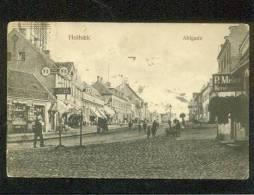 HOLBAEK DENMARK 1910 POSTCARD DOWNTOWN AHLGADE STREET ? STORES CARL SMITH MEIER - Denmark