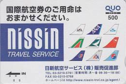 Carte Prépayée Japon - Logos JAL ANA KLM KOREA AMERICAN AIRLINES Etc -  Japan Quo Card - Airplane Flugzeug Avion  - 269 - Avions