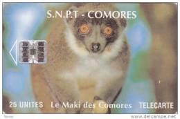Comoros, COM-08, 25 Units, Comoros Maki, Monkey, 2 Scans. - Comore