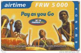 Rwanda, FRW 5000 Airtime, Pay As You Go, Drummers, 2 Scans. - Rwanda