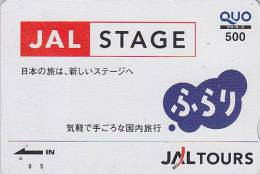 Carte Prépayée Japon - JAL - JAPAN AIRLINES Prepaid Card - Airplane Flugzeug Avion - Quo Karte - 296 - Avions