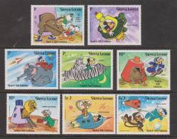 Sierra Leone 1983 Disney Space Ark Set 8 & Min. Sheet MNH  Mickey Donald - Sierra Leone (1961-...)