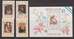 Sierra Leone 1984 Christmas Paintings Set 4 & Miniature Sheet MNH - Sierra Leone (1961-...)