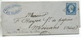 N°14 Variété /lettre  De Valréas (vaucluse)  Pour Moirans (isère) - 1853-1860 Napoléon III