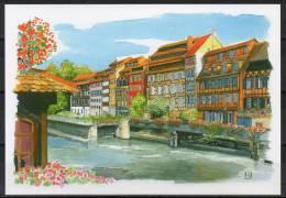 Alsace - Strasbourg - Carte Postale D'après Une Aquarelle - Strasbourg