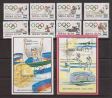 Sierra Leone 1989 Seoul Olympic Games Set 8 & 2 Miniature Sheets MNH - Sierra Leone (1961-...)
