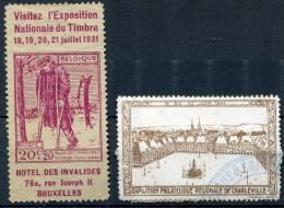 Philat. Expo. 1931 - 2 Poster Stamps - Expositions Philatéliques