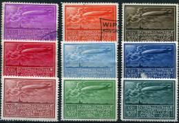 WIEN 1933 - 9 Poster Stamps (mix) - Zeppelin