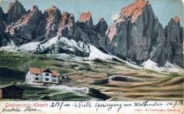 BOLZANO. Rifugio PASSO GARDENA-GRODNERJOCH. Vg. C/fr. AUSTRIA Per GRAZ 1903. - Bolzano