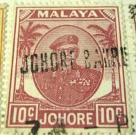 Johore 1949 Sultan Sir Ibrahim 10c - Used - Johore