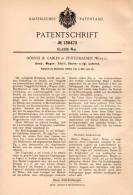 Original Patentschrift - Hörnle & Gabler In Zuffenhausen , Württ., 1902, Laterne Für Wagen , Stall Und Sturm , Stuttgart - Lampen