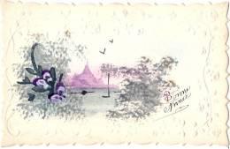 Carte Peinte à La Main - Bonne Année + Relief  Voyagée 1917 Excellent état - Año Nuevo