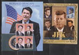 Sierra Leone 2004 US President Portrait Series - Reagan & Kennedy - 3 Sheetlets MNH - Sierra Leone (1961-...)