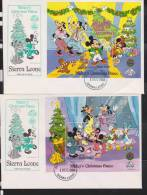Sierra Leone 1988 Disney Christmas Sheetlet Of 8 & 2 Mini. Sheets VFU On FDC - Sierra Leone (1961-...)