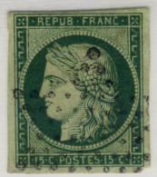 1848-1850. Cérès Typographie. Papier Teinté. N° 2b 15c. Vert Foncé. - 1849-1850 Cérès