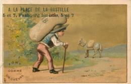 CHROMO DOREE  A LA PLACE DE LA BASTILLE FAUBOURG SAINT ANTOINE THEME FORT COMME UN CHEVAL FORMAT  11.50 X 7.50 CM - Unclassified