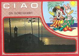 CARTOLINA VIAGGIATA ITALIA  - BORDIGHERA DISNEY  - ANNULLO TONDO BORDIGHERA 26 - 08 - 1992 - Otras Ciudades