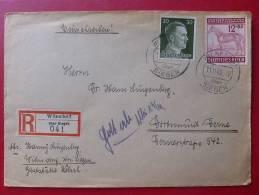 2 TIMBRE DEUTSCHE REICH SUR LETTRE REGISTERED CACHET WILNSDORF Uner Siegen VIA DORTMUND DERNE 1943 - Alemania