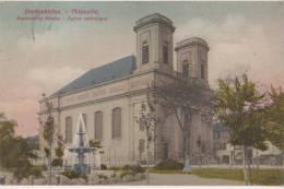 CPA 57 THIONVILLE DIEDENHOFEN Eglise Catholique Carte Allemande Colorisée Timbre 1908 - Thionville
