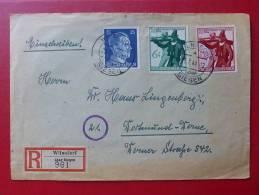 3 TIMBRE DEUTSCHE REICH SUR LETTRE REGISTERED CACHET WILNSDORF Uner Siegen  VIA DORTMUND DERNE 1944 - Alemania