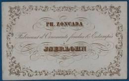 1850- CARTE  PORCELAINE 10 X 6 Cm - FABRICANT  D´ORNEMENTS FONDUS & ESTAMPES * PH. ZONCADA * JSERLOHN  Arnsberg - Germ. - Allemagne
