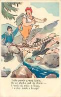POLOGNE - Carte Illustrateur Humoristique - Lecze Pomoc Grubej Damie - Traversée Périlleuse Du Torrent - 2  Scans - Polonia
