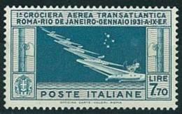 ITALIA REGNO - POSTA AEREA - 1° CROCIERA AEREA TRANSATLANTICA - 7,70 - ROMA - RIO DE JANEIRO - 1930 ** MNH  CERT- - Poste Aérienne