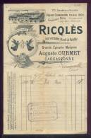 1452 - AUDE CARCASSONNE 1911 -  EPICERIE MODERNE - PUBLICITE RICQLES I - Altri