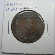MOROCCO 10 MAZUNAS 1321 AH  1903  COIN  LOT 123 - Marruecos