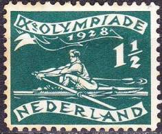 1928 Olympische Spelen 1½ + 1 Cent Groen Roeier Met Plaatfout Witte Vlek Aan Wimpel Zegel 13  NVPH 212 P 1 Ongestempeld - Variétés Et Curiosités