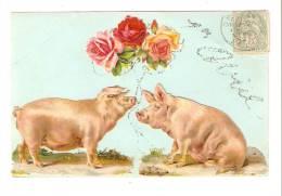 """CPA : Carte Fantaisie : 1er Avril  1 Cochon Offrant Un Bouquet De Roses à Une Truie  Paillettes ( Cochons """" Ajoutis"""") - 1er Avril - Poisson D'avril"""