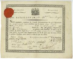 193e Demi-Brigade Echard Laval LONGWY 1794 Guerres Révolution Stubbe Autographe Militaire - Historical Documents
