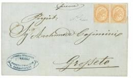 ITALIA REGNO ANNO 1866  - N° T 17 - 10 C. SU LETTERA - COPPIA NUOVA SENZA GOMMA - CERTIFICATO RAY - Nuovi