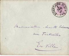 LETTRE DE 1887 AVEC CACHET ALLEMAND STRASSBURG 1e - Poststempel (Briefe)