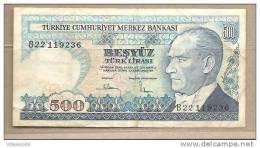 Turchia - Banconota Circolata Da 500 Lire - Turchia