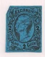 GERMANY -SACHSEN 1855 Used  Stamp 2 Neu Groschen Black On Blue Nr. 10 - Saxony
