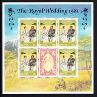 Kenya MNH Scott #194 Minisheet Of 5 Plus Label 50c Charles, President Arap Moi - Royal Wedding - Kenya (1963-...)