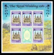 Kenya MNH Scott #195 Minisheet Of 5 Plus Label 3sh St. Paul's Cathedral - Royal Wedding - Kenya (1963-...)