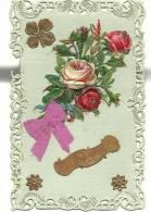 Carte Avec Bordure En Dentelle - Félicitations - Bouquet De Roses Collé Et Noeud En Tissu - Fantaisies