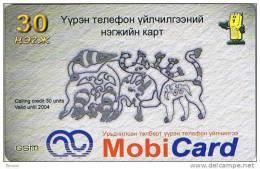 Mongolia,  30 Units, GSM MobiCard (B), 2 Scans.