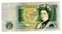 ROYAUME- UNI . BANK OF ENGLAND . ONE POUND . UNE LIVRE STERLING . DANS L´ETAT - 1952-… : Elizabeth II