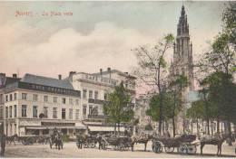 CPA BELGIQUE ANVERS ANTWERPEN La Place Verte Commerces Café De France Et De Suisse Carte Colorisée - Antwerpen
